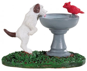 Lemax Bird Bath Dog Fountain