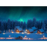 My Village Background Cloth - Northern Lights 76X56cm