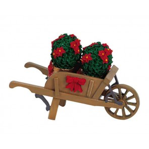 Lemax Wheelbarrow With Poinsettias