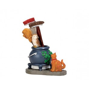 Lemax Cauldron Broom Holder