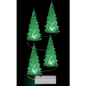 Lemax Crystal Lighted Tree, 3 Color Changeable, Small 4 pc