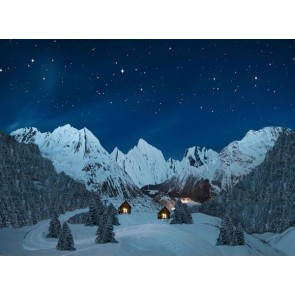 My Village Background Cloth - Mountain landscape Night 76X56cm