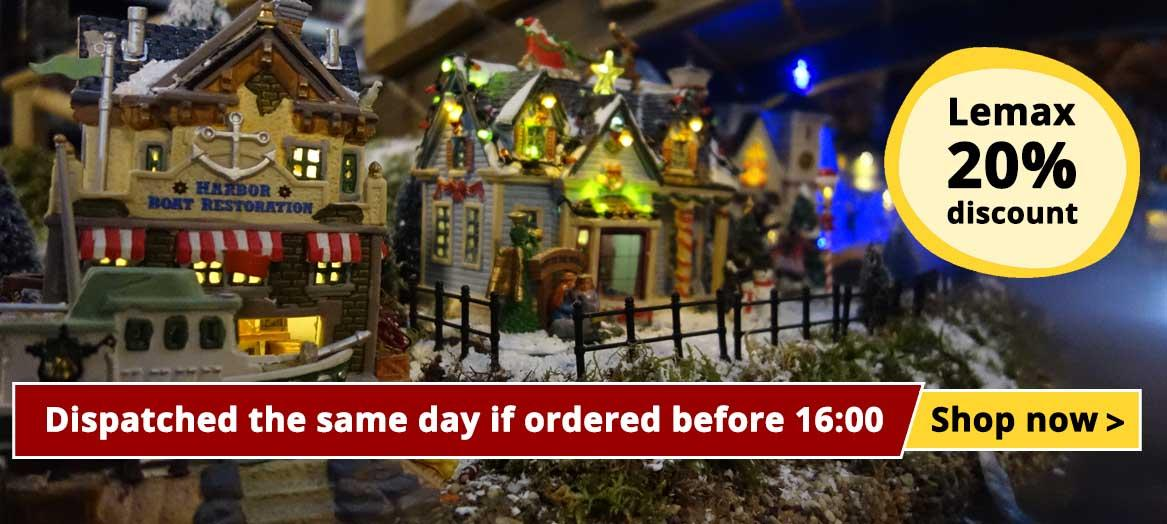Lemax Dispatched the same day if ordered before 16:00hrs